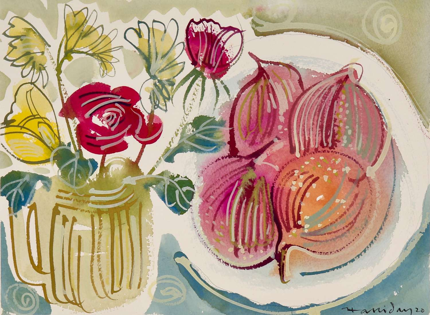 Alan Halliday: A collection of Watercolours of Fruits and Flowers.