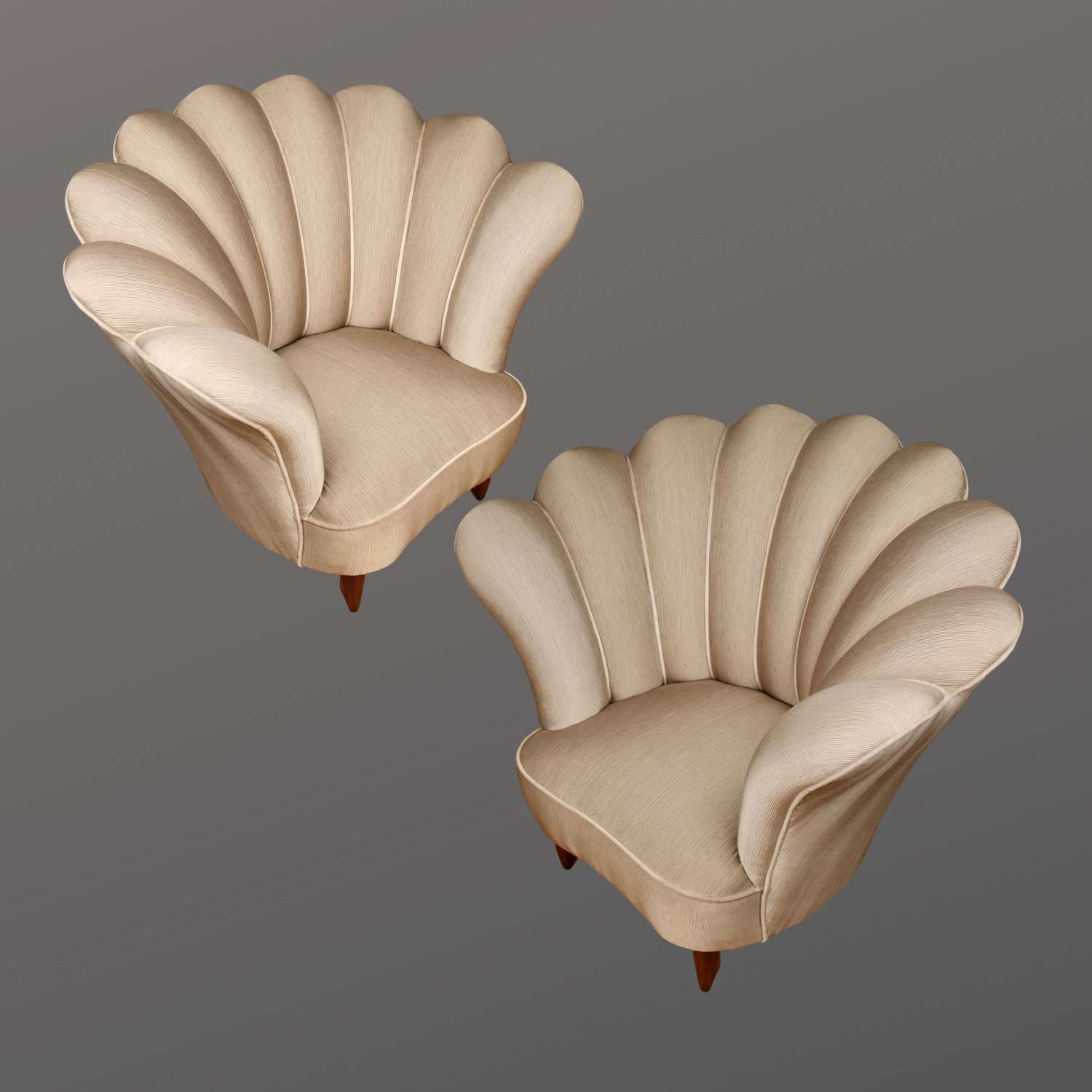 A Pair of Italian Scalloped Shaped Chairs, Mid-century Modern.