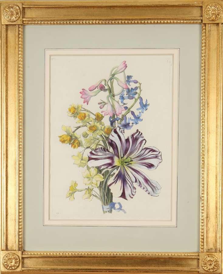 Jean Baptiste Monnoyer: hand-coloured engravings of flowers, 1670-80.