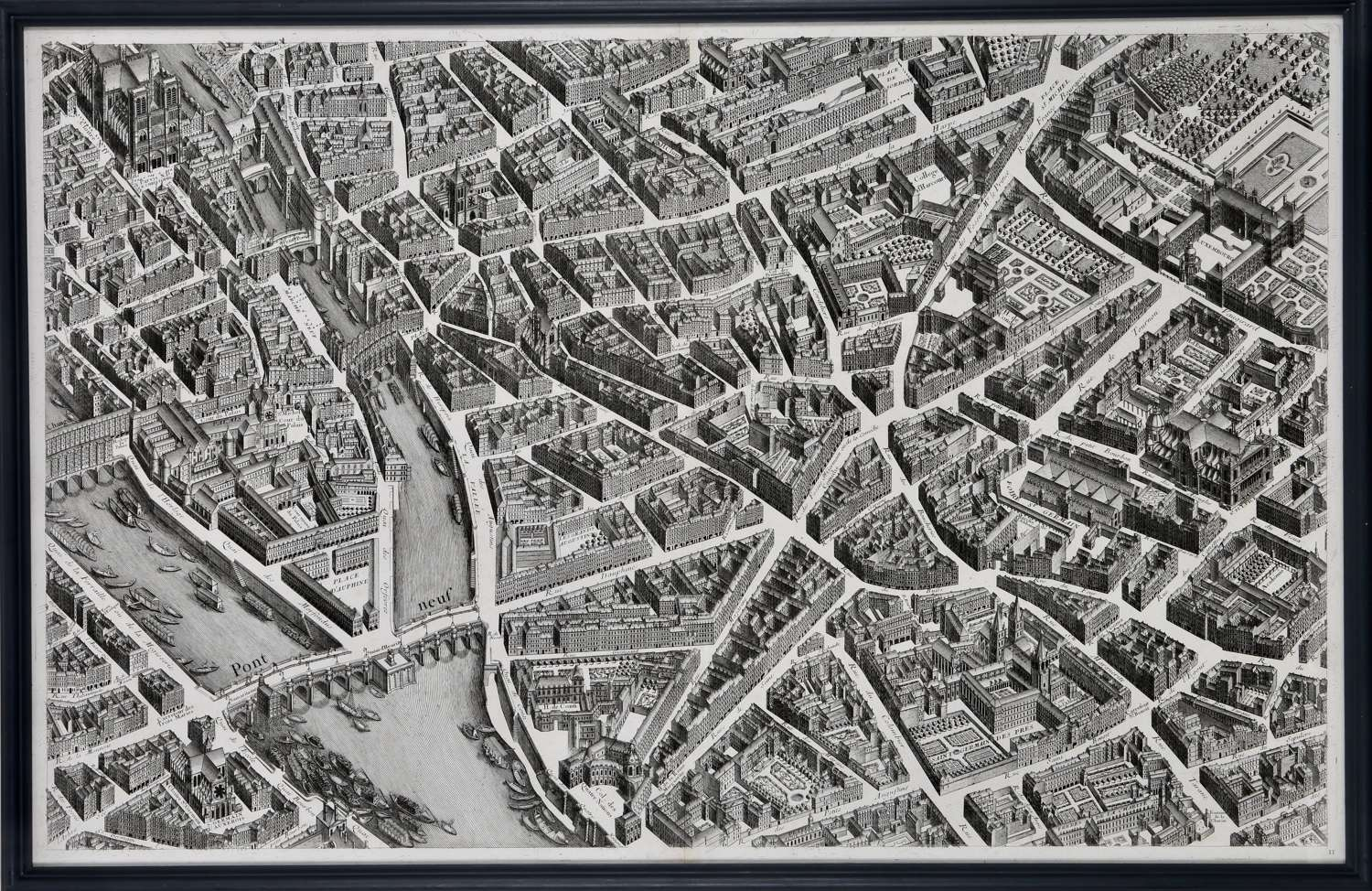 The set of 20 plates forming a complete map of Paris, framed.